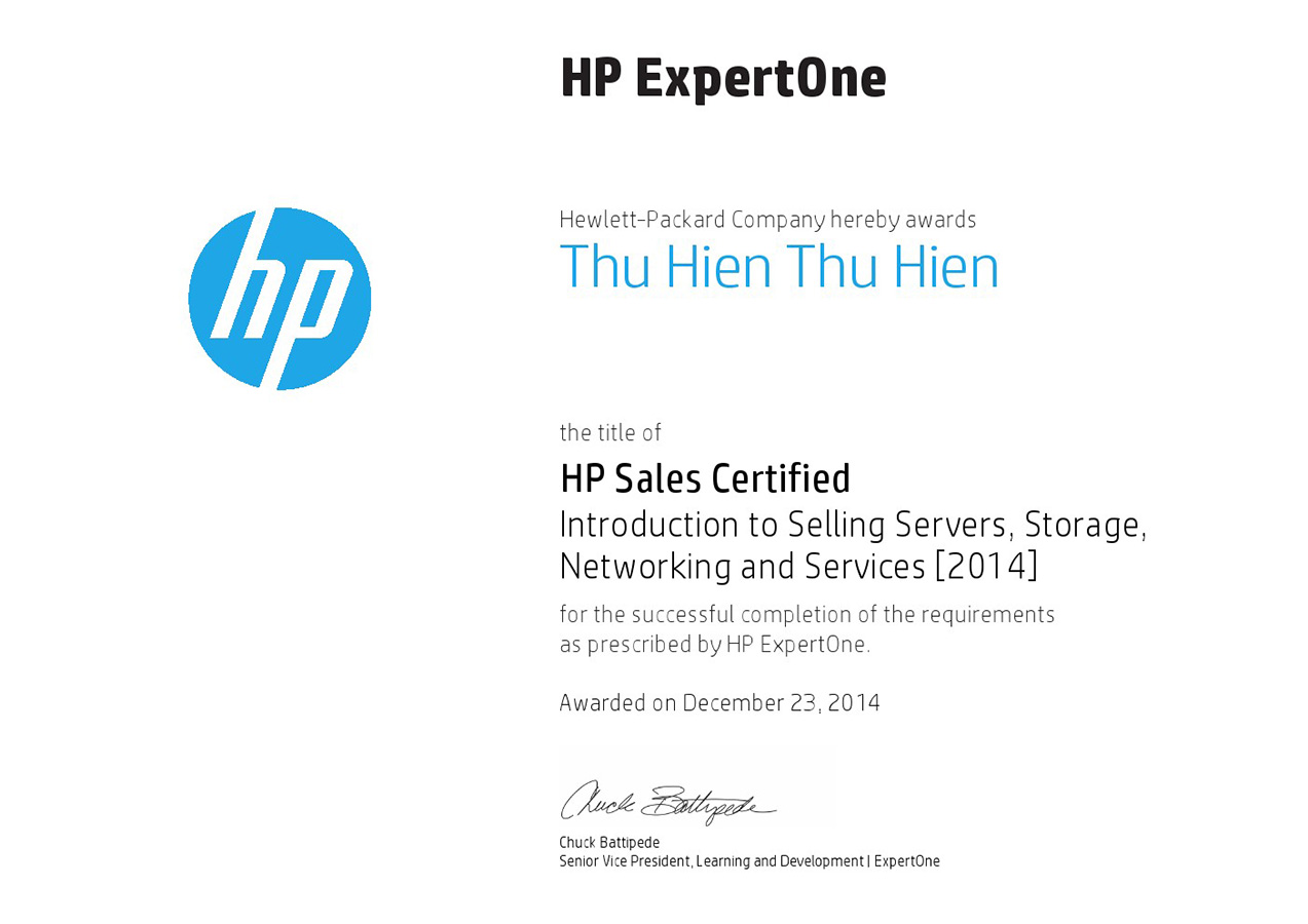 Hien Sale Server storage networking services Certification